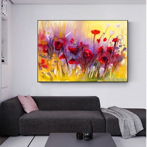 Abstract Flowers Canvas Painting Watercolor Poppy Flower Posters and Prints Wall Art Picture for Living Room Home Decor Cuadros