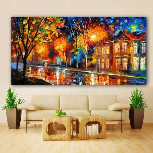 HD Print Landscape Painting Wall Art Print on Canvas Lover In The Rainy Light Road Canvas Painting Wall Pictures for Living Room