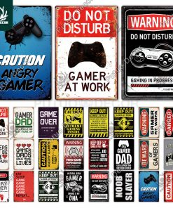Funny Gamer Metal Sign Tin Sign Gamer at Work Sign Retro Signs Wall Decor for House Home Room Metal Signs Tin Signs