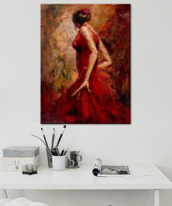Modern Abstract Portrait Posters and Prints Wall Art Canvas Painting Dancing Girl in Red Dress Decorative Pictures for Room Wall