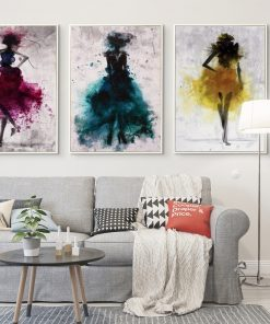 Elegant Dancing Skirt Girl Watercolor Abstract Canvas Painting Posters Prints Cuadros Wall Art Picture Home Room Decoration