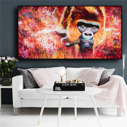 Graffiti Monkey Gorilla Smoking Oil Painting on Canvas Posters and Prints Scandinavian Cuadros Wall Art Picture for Living Room