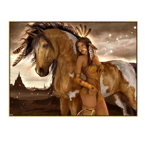 Native Indian Horse Figure Abstract Nude Girl Oil Painting on Canvas Cuadros Posters and Prints Wall Art Picture for Living Room