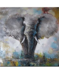 Beautiful Abstract Painting of African Elephant in Wild, Printed on Canvas