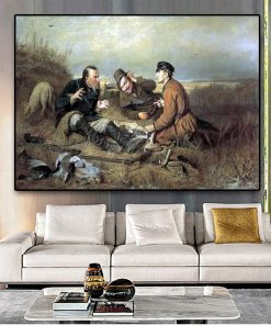 Hunters at rest By Vasilij Perov Posters And Prints Oil Painting on Canvas Scandinavian Wall Art Pictures For Living Room Decor