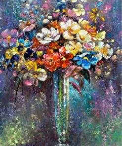 Classic Abstract Art Flowers Painting Printed on Canvas