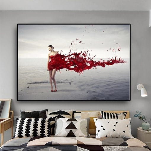 Black White Red Fashion Sexy Girl Sea Wave Beach Posters and Prints Scandinavia Nordic Canvas Art Wall Picture for Living Room