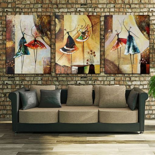 Ballet Dancer Picture for Living Room Home Decoration Hand Painted Modern Abstract Oil Painting Canvas on Wall Art Gift Unframed