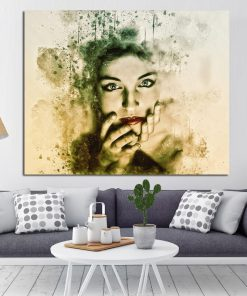 Beautiful Woman Face, Abstract Art Painting Printed on Canvas