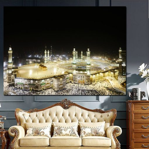 HD Print Pilgrimage to Mecca Wall Canvas Painting Religious Architecture Mecca Faith Europe Cuadros Mural Poster for Living Room