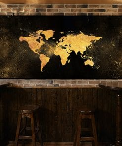 Black and Gold World Map , Modern Abstract Painting Printed on Canvas