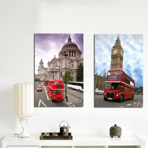 Traditional British Red Telephone Box and Red Double-Decker Bus in London, Pictures Printed on Canvas