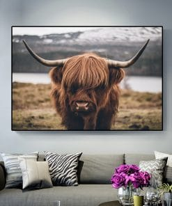 Highland Cow Wild Animals Canvas Painting Cattle Posters and Print Nordic Scandinavian Cuadros Wall Art Picture for Living Room