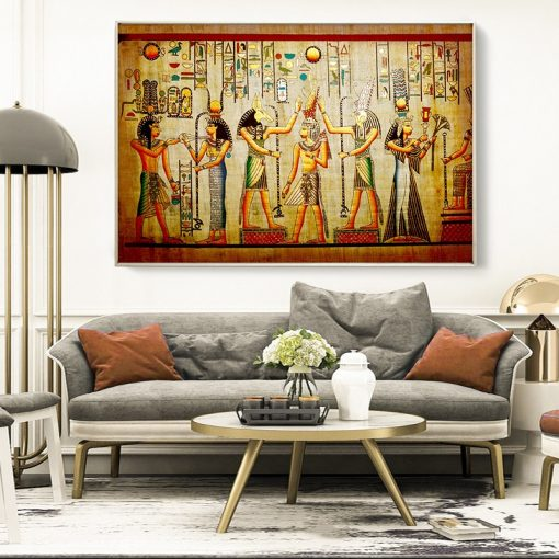 Abstract Native Indian Woman and Animal Art Oil Painting on Canvas Posters and Prints Cuadros Wall Art Picture for Living Room
