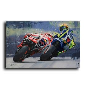 Motorcycle Racing Poster, Modern Abstract Painting Printed on Canvas