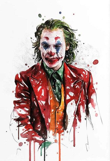 JOKER Painting Graffiti Art, Abstract Comic Poster Printed on Canvas