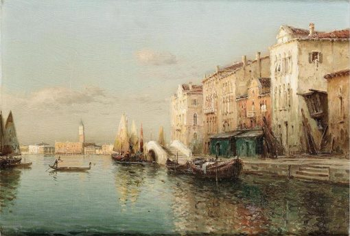 Resorts Vintage Water Town Venice Seascape Oil Painting on Canvas Print Poster Cuadros Modern Wall Art Pictures for Living Room
