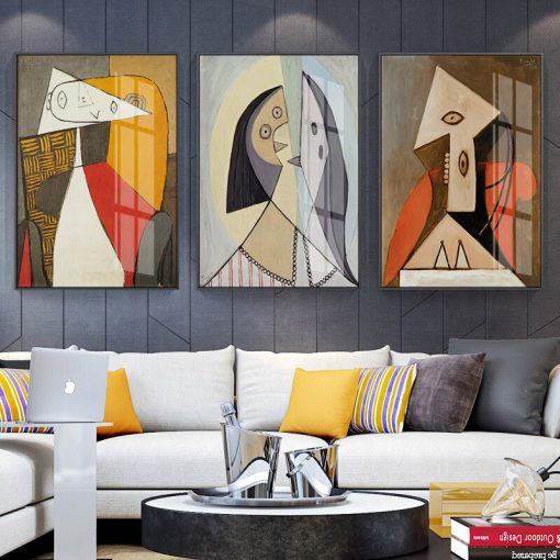 Picasso Oil Painting Abstract Figure Modern Mural Canvas Painting Wall Art Living Room Home Decor Abstract Art