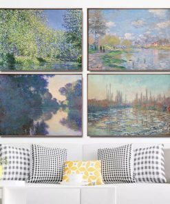 Claude Monet Seine River Canvas Painting Reproductions Poster and Print Wall Art Picture for Living Room Home Decoration Cuadros