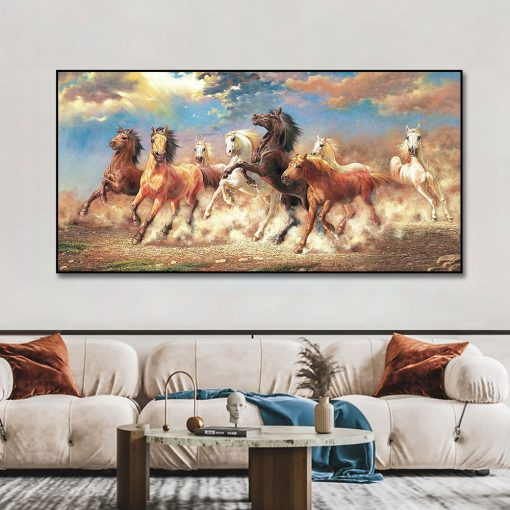 Three Running Horses Canvas Art Animals Wall Art Posters For Living Room Home Decor Cuadros Custom Wall Canvas Print Paintings