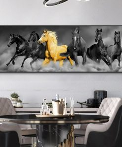 Modern God and Black Six Horses Running Oil Painting HD Print on Canvas Poster Wall Art Picture for Living Room Sofa Cuadros