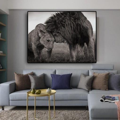 """Lions Head to Head by Nick Brandt, Black and White Photographs from Masai Mara """"East Africa"""" in 2008, Printed on Canvas"""