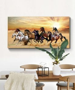 Wild Horses Running at Sunset day, Art Painting Printed on Canvas