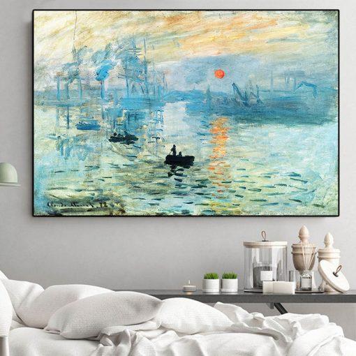 Classicial Claude Monet Impression Sunrise Famous Landscape Cuadros Oil Painting on Canvas Art Poster Print Wall Picture Decor
