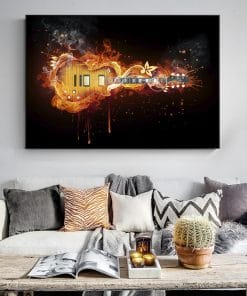 Modern Art Electric Guitar Abstract Oil Painting Printed on Canvas