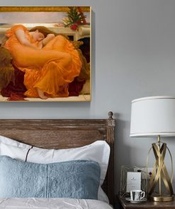 UK Famous Painting Flaming June By Frederic Leighton Canvas Paintings Posters and Prints Wall Art Pictures for Living Room Decor