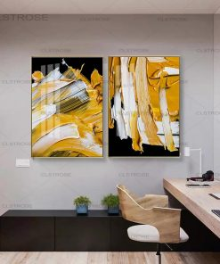 White-Yellow in Black Background Modern Art Abstract Painting Printed on Canvas