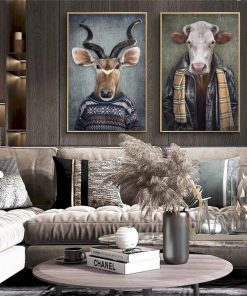 Nordic Vintage Art Animals in Human Clothes Canvas Paintings On the Wall Art Posters And Prints Tiger In Suit Canvas Pictures