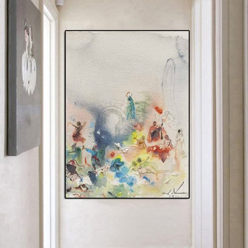 Salvador Dali People Living In The Spiritual World Oil Painting Canvas Posters and Prints Wall Art Picture for Living Room Decor