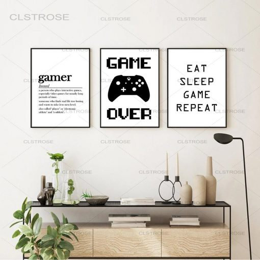 """Unique and Funny Quotes """"Gamer"""" , Picture Printed on Canvas"""
