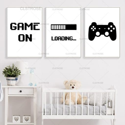 Game Loading Minimalist Canvas Print Gaming Wall Art Poster Black And White Art Painting Boys Room Decorative Picture Gamer Room