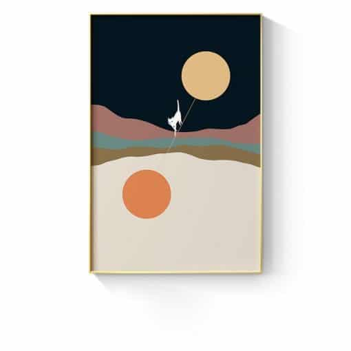 Nordic Abstract Creativity Mountain Landscape Canvas Painting Cat Theme Art Prints and Poster Wall Picture for Living Room Decor