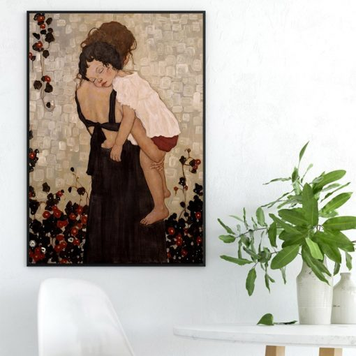 """Xi Pan """"Mother and Child"""" Painting, Fine Art Printed on Canvas"""