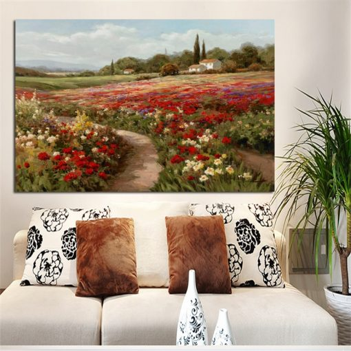 Claude Monet Poplars Poppy Fields Landscape on Canvas Oil Painting Posters and Prints Cuadros Wall Art Picture for Home Decor