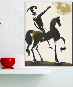 Salvador Dali Abstract Equestrian Warrior Oil Painting on Canvas Posters and Prints Wall Art Pictures for Living Room Home Decor