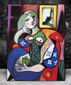 Woman With Book by Picasso Canvas Paintings On the Wall Art Posters And Prints Surrealism Art Canvas Pictures For Living Room