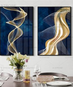 Smooth White Line with Gold Flow Horizontal, Abstract Wall Art Printed on Canvas