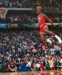 Spectacular Basketball Star Classic Dunk Scene, 1988 NBA Slam Dunk Contest - Michael Jordan vs. Dominique Wilkins, Picture Printed on Canvas