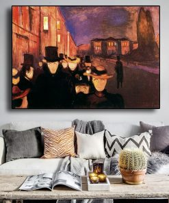 Edvard Munch Carl John Street At Night Abstract Oil Painting on Canvas Posters and Prints Wall Art Picture for Living Room decor