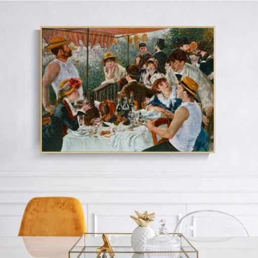 Pierre Auguste Renoir The Boater's Lunch Famous Painting on Canvas Prints and Poster Wall Art Picture for Living Room Home Decor