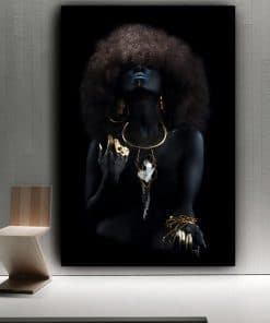 Modern Fluffy Hair African Black Women Golden Finger Oil Painting on Canvas Art Wall Posters and Prints for Living Room Decor