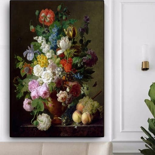 Vintage Flower Oil Painting Canvas Botanical Flowers Posters and Prints Cuadros Wall Art Picture for Living Room Home Decoration