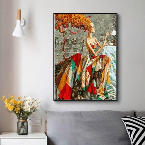 Nordic Restoring Ancient Ways Style Portrait Canvas Painting Posters and Prints Cuadros Wall Art Picture for Living Room Decor