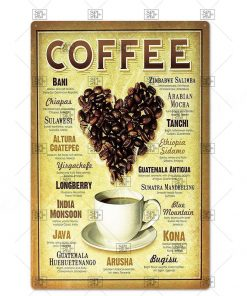 Forever Coffee Pattern Vintage Metal Sign Board Coffee House Wall Decoration Board Metal Tin Poster Wall Sticking Hanging Plaque