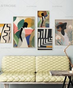 African Women in Shades of Foliage, Abstract Art Painting Printed on canvas