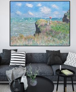Impression Claude Monet Clifftop Walk at Pourville Cuadros Oil Painting on Canvas Poster Prints on Wall Picture for home decor